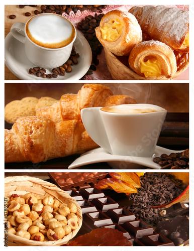 Fototapeta Sapori italiani, cappuccino e cioccolata con nocciole