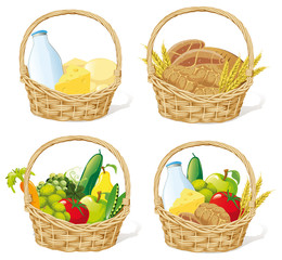 baskets with milk, cheese, cereals and fruit