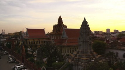 panoramic view of temples and river in Phnom Penh