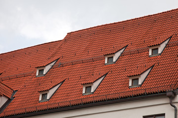 Red tile roof in Munich, Germany
