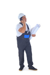 Male builder talking on mobile phone