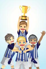 Sport kids lifting trophy