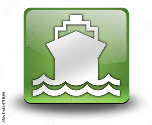"Green 3D Effect Icon ""Ship / Water Transportation"""
