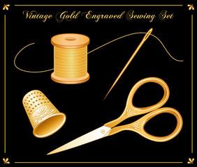 Vintage Gold Engraved Sewing Set