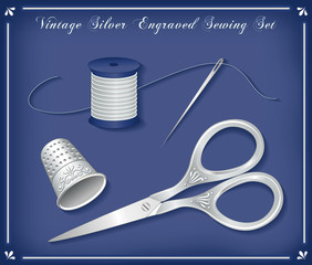 Vintage Silver Engraved Sewing Set
