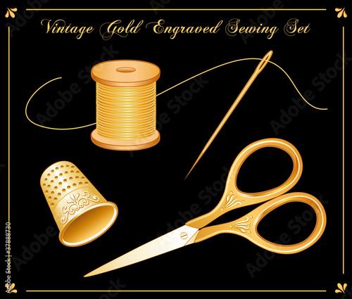 Vintage Gold Engraved Sewing Set - 37888730