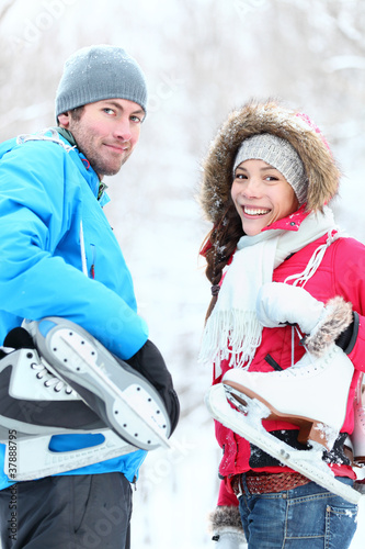 Ice skating winter couple