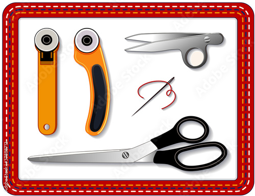 Quilting Tools: rotary cutters, thread clips, scissors