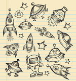 Outer Space Doodle Sketch Vector Set poster