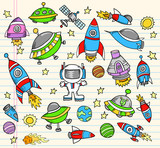 Outer Space Doodle Elements Vector  Set poster