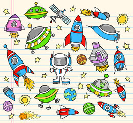 Outer Space Doodle Elements Vector  Set