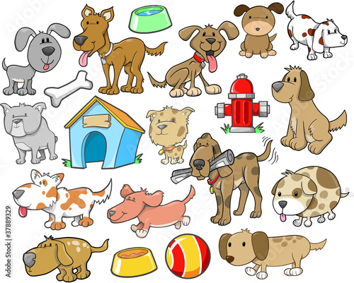 Cute Dog Design Elements Vector Set