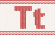 Red knitted Letter t on beige Background