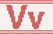 Red knitted Letter v on beige Background
