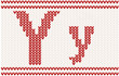 Red knitted Letter Y on beige Background