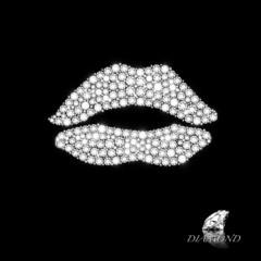 diamonds ,Lips shape on the black background