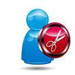 Icono 3D usuario con señal cortar