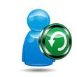 Icono 3D usuario con señal reiniciar
