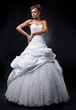 Luxurious fiancee supermodel shows white wedding dress