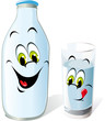 milk bottle and glass cartoon