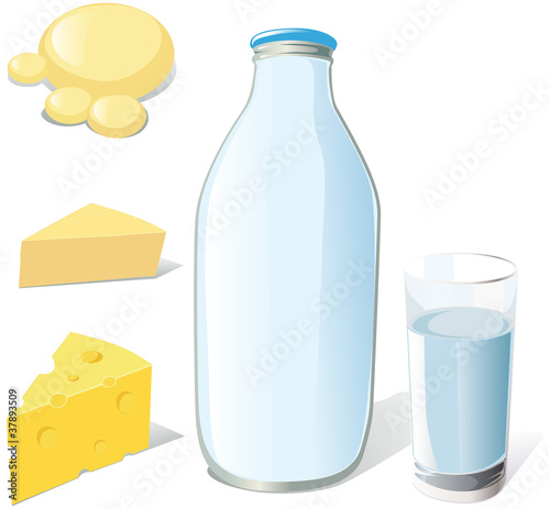 ilk bottle, glass and cheeses