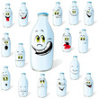 milk bottle with many expressions