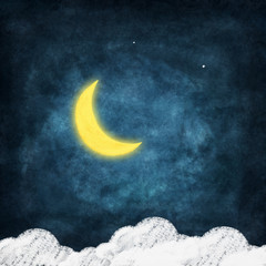 weather icon drawing on chalkboard ,night time,smile moon