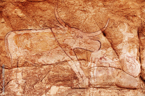 Tuinposter Algerije Rock paintings of Tassili N'Ajjer, Algeria