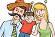 happy family in mexican style funny hats