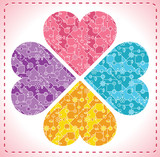 four ornate hearts in shape of flower