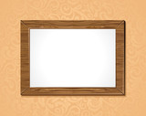 vector wooden frame with white background