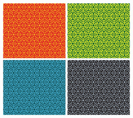 set of Seamless patterns with hexagons