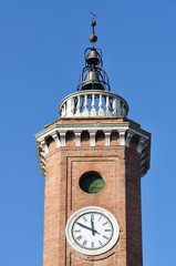 The clock tower of Comacchio, Ferrara, Italy