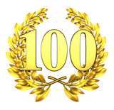 100 onehundred number laurel wreath
