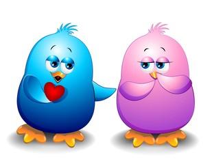 Uccellini Amore S.Valentino Cartoon-Little Birds in Love