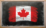 Fototapety flag of Canada on blackboard painted with chalk