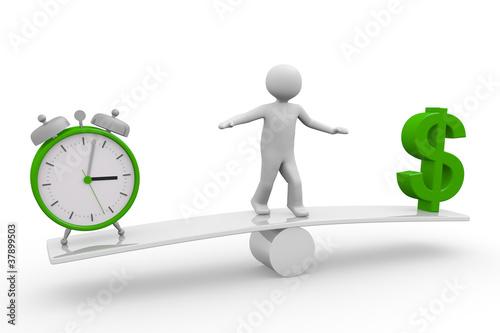 Balance zwischen Zeit und Geld (Dollar)