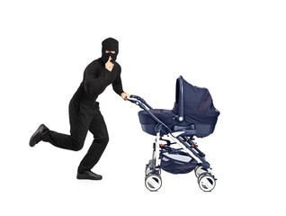 Robber running and pushing a baby stroller