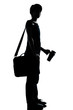 one young teenager school student boy or girl silhouette
