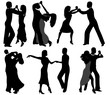 Dancer silhouettes isolated