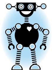 Robot Silhouette Cartoon Outline Blue