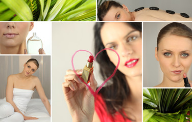 Mosaic of woman using cosmetic products