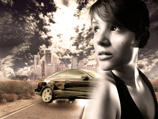 girl with the car, urban concept