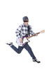 Man jumping with electric guitar