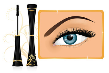 Mascara and a female eye with an ornament on the background.