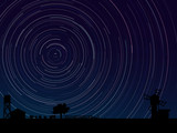 Simple vector of stars trace circles on the sky.