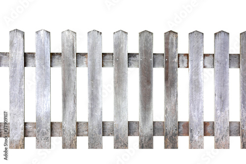 Wood fence on white background