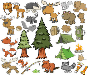 Outdoors Wildlife Camping Vector Design Set