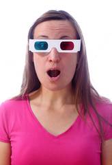 Young woman in 3d glasses with surprised expression