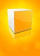 Orange background with bright cube